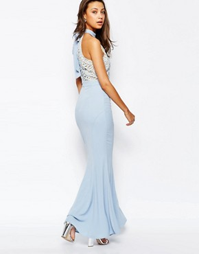 photo Caden Lace Detail Halter Neck Maxi Dress by Jarlo Tall, color Soft Blue - Image 2