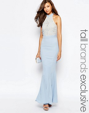 photo Caden Lace Detail Halter Neck Maxi Dress by Jarlo Tall, color Soft Blue - Image 1