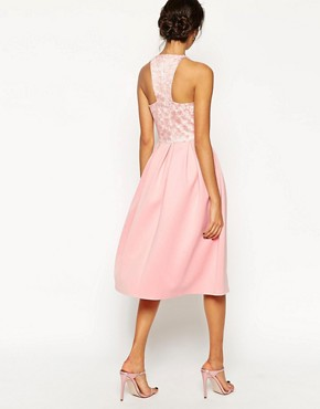 photo Lace Top Scuba Skater Midi Dress by ASOS TALL, color Pink - Image 2