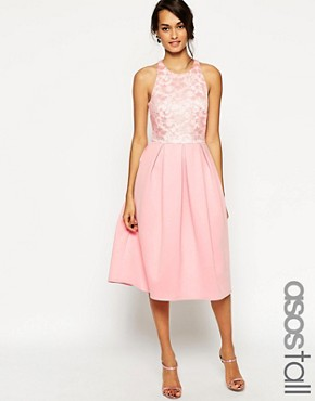 photo Lace Top Scuba Skater Midi Dress by ASOS TALL, color Pink - Image 1