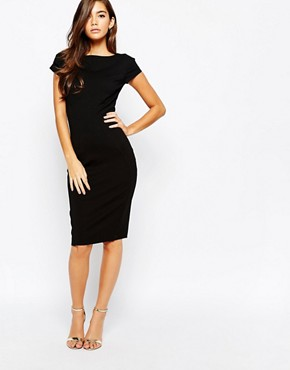photo Pencil Dress with Ruched Cap Sleeve by Closet, color Black - Image 1