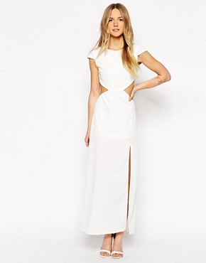 photo Maxi Dress with Cut Outs and Thigh Split by Tiger Mist Petite, color White - Image 2