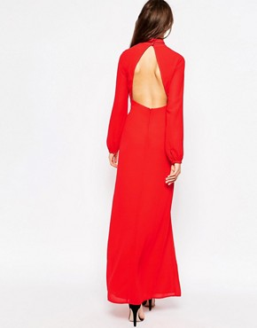 photo Long Sleeved Maxi Dress with Keyhole Detail by Jarlo Tall, color Red - Image 2