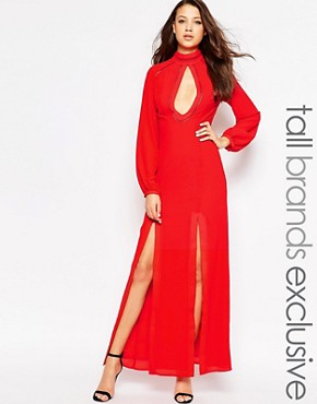 photo Long Sleeved Maxi Dress with Keyhole Detail by Jarlo Tall, color Red - Image 1