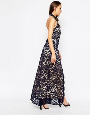 photo Halter Neck Maxi Dress in Lace by Jarlo Tall, color Navy - Image 2