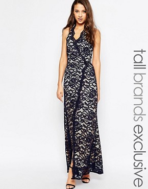 photo Halter Neck Maxi Dress in Lace by Jarlo Tall, color Navy - Image 1