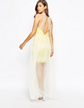 photo Textured Maxi Dress with Tulle Skirt by True Violet, color Yellow - Image 2