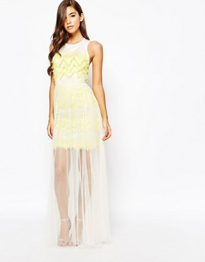 photo Textured Maxi Dress with Tulle Skirt by True Violet, color Yellow - Image 1