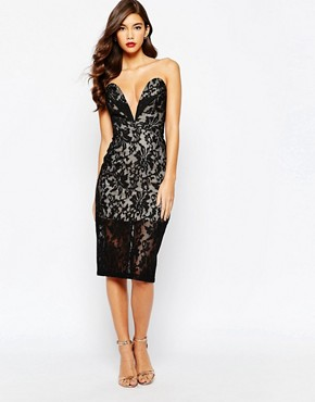 photo Astrid All Over Lace Bandeau Dress by Jarlo, color Black - Image 1