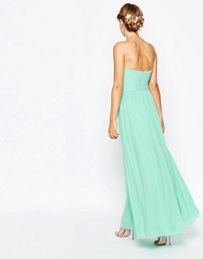 photo Ruched Bodice Bandeau Maxi Dress by ASOS WEDDING, color Mint - Image 2