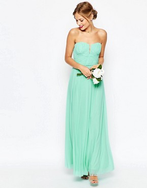 photo Ruched Bodice Bandeau Maxi Dress by ASOS WEDDING, color Mint - Image 1