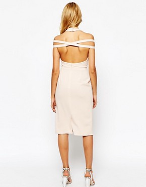 photo Pleated Pencil Dress with Cut Out Shoulder by Love, color Nude - Image 2
