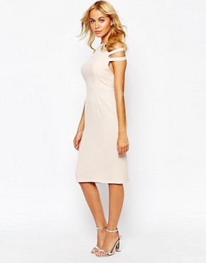 photo Pleated Pencil Dress with Cut Out Shoulder by Love, color Nude - Image 1