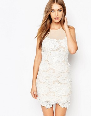 photo Lace Bodycon White Dress by Missguided Premium, color Nude - Image 1