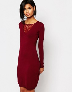 photo Dover Bodycon Lace Dress by Supertrash, color Burnt Sienna - Image 1
