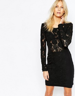 photo Deeper Lace Structured Dress by Supertrash, color Black - Image 1