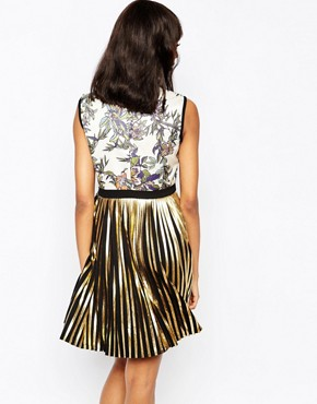 photo Mini Dress with Metallic Pleated Skirt by Sportmax Code, color Black - Image 2