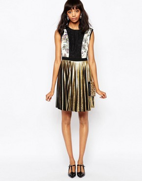 photo Mini Dress with Metallic Pleated Skirt by Sportmax Code, color Black - Image 1