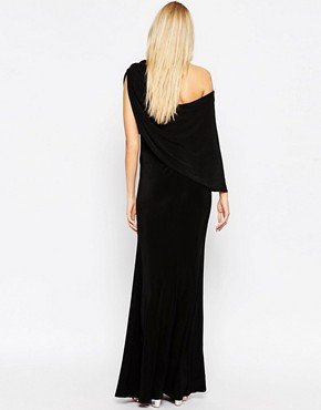 photo Maxi Dress with Cape by Club L Maternity, color Black - Image 2