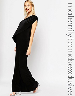 photo Maxi Dress with Cape by Club L Maternity, color Black - Image 1