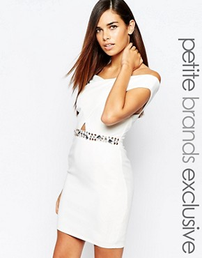 photo Wrap Front Bodycon Dress with Jewel Embellishment by Lipstick Boutique Petite, color White - Image 1