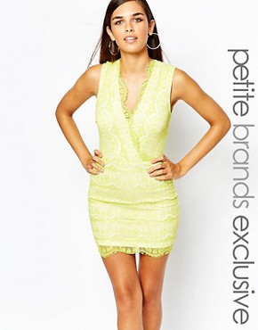 photo Eyelash Lace Bodycon Dress by Lipstick Boutique Petite, color Lime/Cream - Image 1