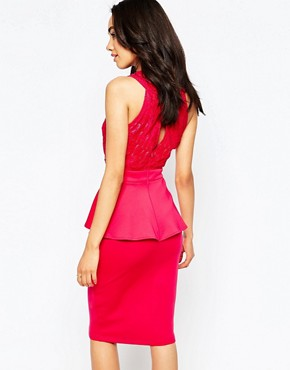 photo Lace Wrap Front Bodycon Dress with Peplum by Lipstick Boutique Petite, color Pink - Image 2