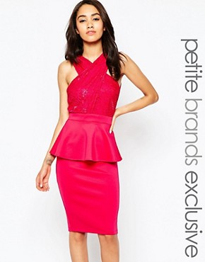 photo Lace Wrap Front Bodycon Dress with Peplum by Lipstick Boutique Petite, color Pink - Image 1