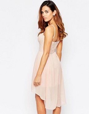 photo Lace Sweetheart Skater Dress with High Low Hem by Elise Ryan, color Nude - Image 2