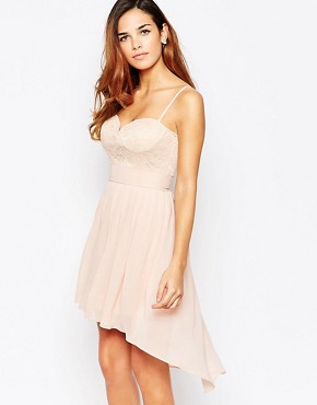 photo Lace Sweetheart Skater Dress with High Low Hem by Elise Ryan, color Nude - Image 1