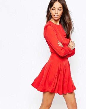 photo Fit and Flare Dress with Full Skirt by Fallen Star, color Red - Image 1
