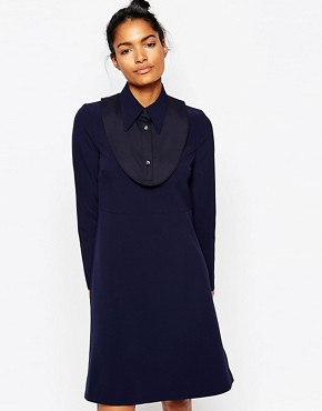 photo Anita Dress with Collar by Wood Wood, color Dark Navy - Image 1