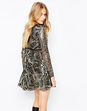 photo Howie Embellished Dress in Art Deco Print by BA&SH, color Gold - Image 2