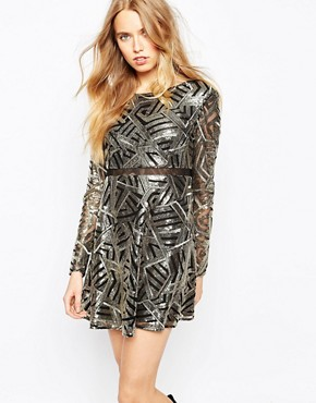 photo Howie Embellished Dress in Art Deco Print by BA&SH, color Gold - Image 1