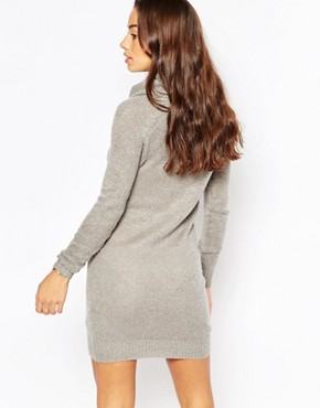 photo Cable Knit Roll Neck Dress by Vero Moda Petite, color Grey - Image 2