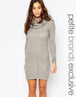 photo Cable Knit Roll Neck Dress by Vero Moda Petite, color Grey - Image 1