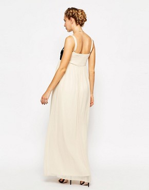 photo Maxi Dress with Floral Applique by Little Mistress Maternity, color Cream - Image 2