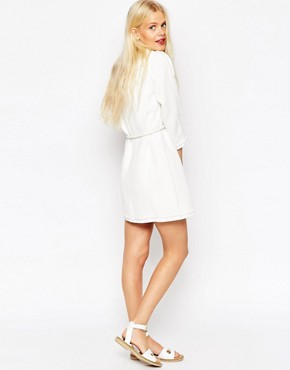 photo Tunic Dress with Raw Edge and Rope Tie Waist by ASOS TALL PREMIUM, color White - Image 2