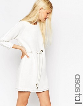 photo Tunic Dress with Raw Edge and Rope Tie Waist by ASOS TALL PREMIUM, color White - Image 1