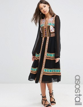 photo Folk Midi Dress with Mirror Embroidery by ASOS TALL PREMIUM, color Black - Image 1