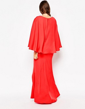 photo Makena Plunge Front Maxi Dress with Exaggerated Frill by Jarlo Tall, color Red - Image 2