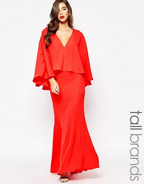 photo Makena Plunge Front Maxi Dress with Exaggerated Frill by Jarlo Tall, color Red - Image 1