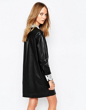 photo Okky Black Leather Look Dress in Black by Gat Rimon, color Black - Image 2