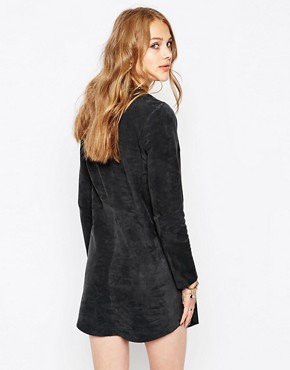 photo Boho Embroidered Suede Dress by Maison Scotch, color Grey - Image 2