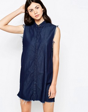 photo Mini Denim Button-Up Sleeveless Dress by Dr Denim, color Rinsed Blue - Image 1