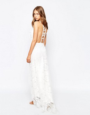 photo Fiji Lace Maxi Dress with Strap Detailed Front by White Sand, color White - Image 2