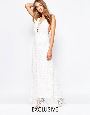 photo Fiji Lace Maxi Dress with Strap Detailed Front by White Sand, color White - Image 1