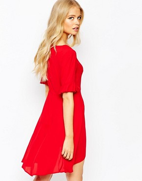 photo Plunge Skater Dress with Fluted Kimono Sleeve by Love, color Red - Image 2