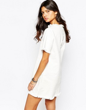 photo Oversized Boxy Tee Dress with Raw Hem Detail by Northmore Denim, color White - Image 2