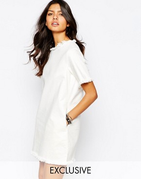 photo Oversized Boxy Tee Dress with Raw Hem Detail by Northmore Denim, color White - Image 1